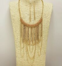 Gold Rhinestone and Bead Draped Necklace Set
