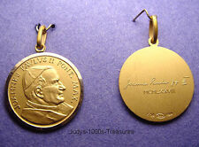 "14k SOLID GOLD POPE JOHN PAUL MEDAL CHARM LARGE ROUND 1""  7.04gr. MADE IN ITALY"