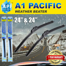 "All season Bracketless J-HOOK Windshield Wiper Blades OEM Premium 24""+ 24""(2PCS)"