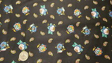 "Cotton Fabric FLORAL & PAISLEY Blue ON BLACK, Marcus 1 Yd /44"" Wide"