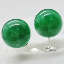 Genuine 10mm Natural Green Jadeite Jade 925 solid Silver Stud Earrings AAA