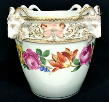 Antique DRESDEN GERMAN PORCELAIN Cache Pot RAM'S HEADS Floral Painted