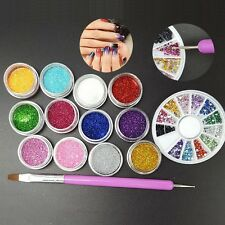 12 Color Nail Art Glitter Rhinestones + Marbleizing Dotting Pen + Glitter Set