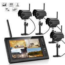 "7""  2.4G Quad DVR Wireless Home Security System Night Vision CCTV 4 Camera  US"