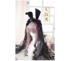 Lolita Gothic Rose Rabbits Ears Lace Veil Black HairBand Hoop Headdress Cosplay