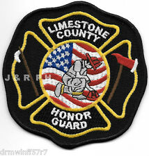 """Limestone County - Honor Guard, TX (4"""" x 4"""" size) fire patch"""