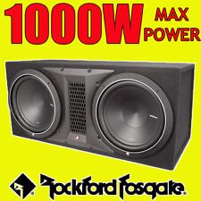 "Double Rockford Fosgate 12"" PUNCH 1000w car audio subwoofer sub woofer bass box"