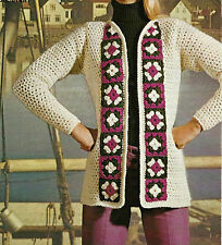 """LADIES CROCHET PATTERN VINTAGE JACKET DOUBLE DOUBLE/ CHUNKY 4 SIZES 32-38"""" BUST"""