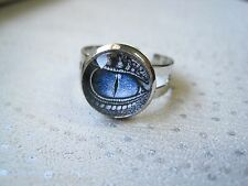 DRAGONS EYE Blue Grey GLASS DOMED ADJUSTABLE RING gift SP Fantasy Dragon
