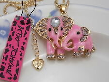 Betsey Johnson Cute fashion inlay Crystal Pink Elephant Pendant Necklace #A249