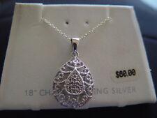 """Belk Silver Sterling Silver New Tear Drop 18"""" silver chain JEW:4"""