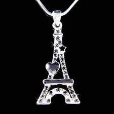 w Swarovski Crystal ~Black Eiffel Tower Paris France Heart Star Pendant Necklace