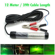 12V Green LED Underwater Fishing Lamp Squid Bait Lure Light with 39ft/12M Cable