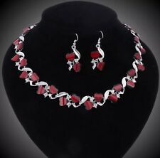 D19 Crystal Red Resin Gem Necklace Earring African Costume Wedding Jewelry Set