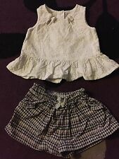 MONSOON Baby Girls Summer Outfit 0-3 Months set top shorts