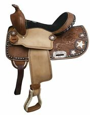 """13"""" Double T Barrel style saddle with star skirt."""