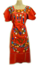 Vtg 60s 70s Mexican Dress Boho Hippie Ethnic Floral Embroidered Oaxacan Peasant