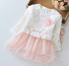 New Baby Girls Long Sleeve Lace Flower Top+ Dress Fit 6-12Months Pink m0