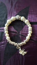 WHITE GLASS FAUX PEARL CRYSTAL & BUTTERFLY STRETCH BRACELET SILVER PLATED
