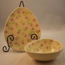 Hausenware Egg Shaped Easter Serving Plate Candy Dish Yellow Purple Flowers