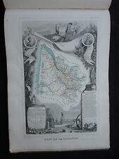 ancienne gravure carte Départ. de la Gironde - 50 par 36 cm - Levasseur - 1845