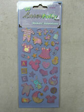 NEW: PACKET of 3D LASER PUFFY STICKERS / EMBELLISHMENTS - PINK BABY DESIGNS -