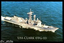 USS Clark FFG-11 postcard US Navy warship Guided Missile Frigate