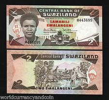 SWAZILAND 2 EMALANGENI P13A 1987 KING HIPPO CRANE LOURIE UNC WORLD CURRENCY NOTE