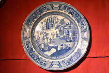 Pearlware blue & white transferware plate 'Fishermen with Nets' c.1810 (A585)