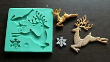 Silicone Mould JUMPING DEERS Sugarcraft Cake Decorating fondant fimo mold
