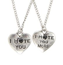 Blackheart I HATE YOU BFF HEART PENDANT NECKLACE SET Best Friends Bestie NEW