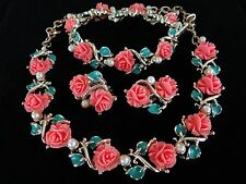 VINTAGE CORO PLASTIC SALMON CORAL ROSE NECKLACE BRACELET EARRING PARURE SET