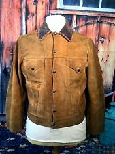 VINTAGE 1950' S Levi shorthorn Buckskin in Pelle Scamosciata 2 Tasche Western Giacca 40 petto UK