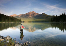 3D Postcard - Fly fisherman enjoys the solitude-Tourist Scenic Post Card (616ML)