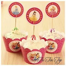 12pcs Disney Princesses Cupcake Toppers + Wrappers. Jelly Cup Girls Party