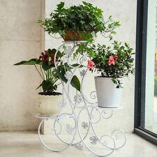 3 TIER Floor-Standing Metal Pot Plant Stand Flower Planter S-Design Black/Brown