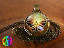 Legend of Zelda Triforce 2 Necklace Antique Vintage Jewelry Glass Pendant Gift