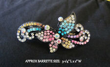 Multi Crystal Butterfly Barrette French Clip Hair Accesory