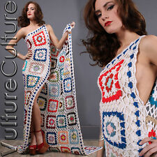 Vintage Hippie Wedding Dress Afghan Sheer Crochet Boho Granny Square Train S/M