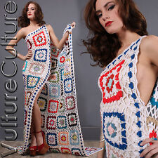 Vintage Afghan Sheer Crochet Knit Boho Hippie Granny Square Train Wedding Dress