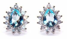 Sterling Silver Sky Blue Topaz And Diamond 2.98ct Pear Cut Stud Earrings (925)