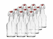 Chef's Star CASE of 12 16 oz. Clear Bottles Beer Kombucha Grolsch Style Flip-Cap