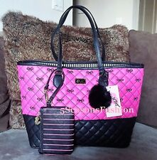 BETSEY JOHNSON Bag & Coin Purse PINK Diamond QUILTED Bow BLACK Faux LEATHER Tote