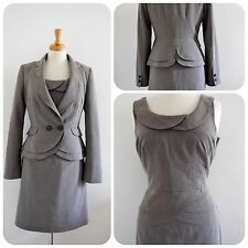 NEXT 1940's SUIT jacket dress TWEED look DOGTOOTH brown work scalloped 10 12