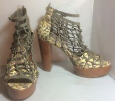 Loeffler Randall + Suno Leather Caged Platform Ankle Strap Peeptoes Size 10 EUC