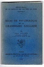 Essai de psychologie de la grammaire anglaise - Léonie VILLARD