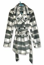 Jou-Jou Chic Gray/Off-White Plaid Poly/Wool Blend Double-Breasted Jacket Coat-M