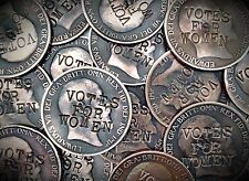 Suffragette Penny . Defaced Edward VII Coin . Votes for Women . Emily Pankhurst