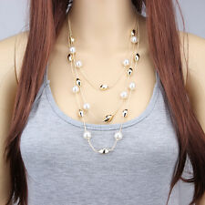 Fashion Jewelry Multi-layer Pearl Choker Statement Bib Pendant Chain Necklace