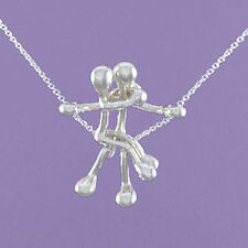 """925 Sterling Silver """"Lovers on a Swing"""" 18""""/20"""" Pendant A717"""